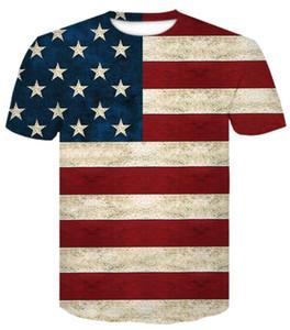 Üniversite Eğitimi ABD 3D renk yıldızı mektup Amerikan bayrağı erkek moda kısa kollu tişört Casual gevşek giysiler giyim baskılı 2019 erkek