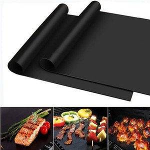 Non Stick BBQ Grill Mat 40*33cm Heat Resistant Baking Mat Reusable Barbecue Grilling Sheet Oven Mats 1000pcs OOA8082