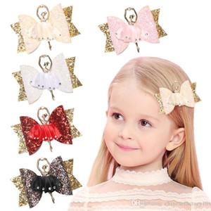 Filles clips cheveux avec ballet fille Paillettes Bows cheveux diamant enfants mignons Boutique Accessoires cheveux 5 couleurs 2019 nouvelles