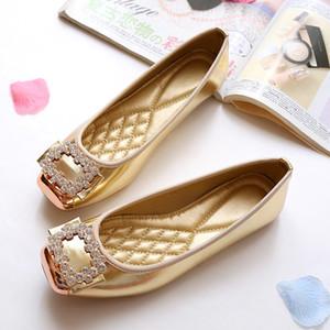 Scarpe da barca di Brand Mocassini donna Ballerine donne femminile Appartamenti di cristallo della decorazione del Rhinestone elegante europea di alta qualità