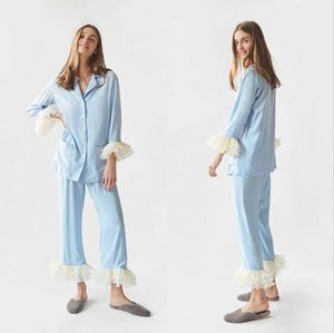 Sky Blue 2 Pieces Women Bathrobe Robe De Mariée Sleepwear Nightgown Long Sleeve Robe Spa Bridal Boudoir Robe Holiday Wedding Party Wear