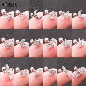 HONGTU 1PC Copper Flower Heart Moon Zircon Tragus Ear Piercing Steel Shaft Bar Daith Earrings Helix Cartilage Studs 16g