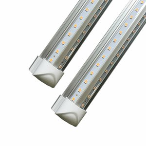 NEW Integrated vshap 2.4m 8ft 72W Led T8 Tube Lights SMD2835 384 Leds LEDGlow lights Warm Cool White Frosted Transparent Cover 85-265V