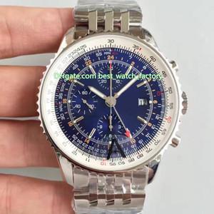 3 Stile di qualità migliore JF Maker 46 millimetri Navitimer World Chronograph GMT 46 A24322121C2A1 svizzero ETA 7750 movimento automatico Mens Orologi dell'orologio