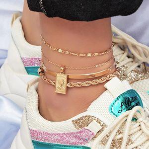 Art und Weise 4pcs / set Fußkettchen Armband für Frauen-Fuß-Zubehör Sommer-Strand-barfüßigsandelholze Armband Knöchel am Bein Weibliche Knöchel