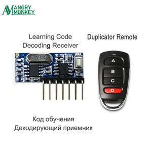 RF Remote Control Transmitter & 433Mhz Wireless Receiver Learning Code 1527 Decoding Module 4 Channel Output With Learning Key