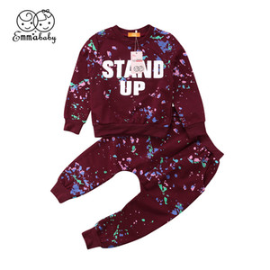 2018 Красный хлопок дети дети мальчики девочки унисекс одежда звездное небо футболка топы+брюки леггинсы наряд 2 шт. Детская одежда комплект