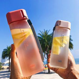 500 ML Basit Mat Su Bardağı Kare Taşınabilir Bırak dayanıklı El Fincan Plastik Personalit Öğrenci Buzlu Sızdırmaz Yaratıcı Şişeler