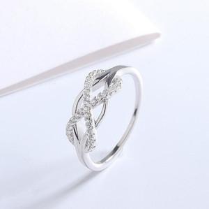 925 Sterling Silber gekreuzt Infinity Symbol Braut Ring Zirkonia Inlay Ehering Für Frauen Damen Damen Prong-Einstellung Ring