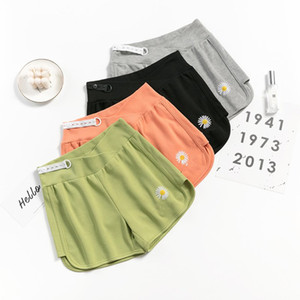 New Maternity Women Pregnant Shorts Cotton Blend Low Waist Small Daisy Embroidery Pants Pregnancy Colorful Beautiful Clothing