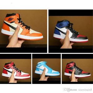 Мужские баскетбольные кроссовки AJ 1 OW Virgil Chicago Красный Белый Синий UNC 13s Air Flight ретро кроссовки ботинки 11 с оригинальной коробкой