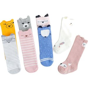 Joelho Sock do bebê dos desenhos animados alta Meias da criança infantil bonito animal Anti-derrapante Piso Socks Criança Crianças algodão macio meias longas frete grátis