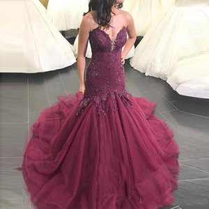 Burgundy Strapless Lace Mermaid Long Evening Dresses with Beaded Appliques Sweetheart Sweep Train Tulle Formal Prom Party Gowns