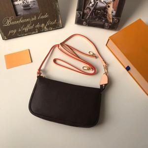 Con Orange Box Mini POCHETTE ACCESORIOS M58009 M51980 N58010 N58009 Esencial pequeña bolsa Pequeño diseñador de las mujeres del embrague del cuero