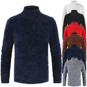 Men Turtleneck Sweaters Autumn Fleece Pullovers Tops 2019 Men Solid Knitted Sweater New Jumpers Knitwears Pull Homme Sweatshirts