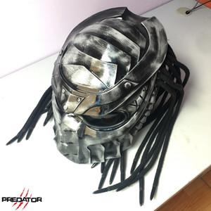 Certificación depredador casco de la motocicleta de la cara llena guerrero de hierro hombre Casco de seguridad DOT Moto alta calidad Negro colorido de fibra de carbono de Iron Man