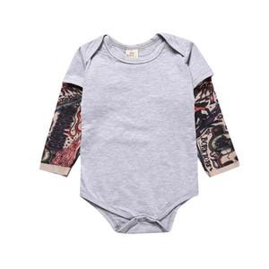 ropa INS niño bebé mameluco Primavera Otoño de manga larga impresión del tatuaje del O-cuello Tatto Print Romper ropa 100% de algodón de los mamelucos del cabrito 0-2T