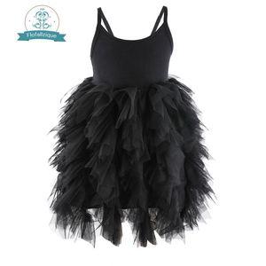 Flofallzique 검은 아기 소녀 드레스 민소매 아이 옷 결혼식 파티 공주 스커트 띠 드레스 1-8Year 어린이를위한