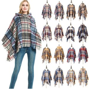 New Fashion Arrival Women Lattice Hooded Cloak Winter Warm Unisex Grid Long Fringed Pashmina Cover-Ups ZZA1097