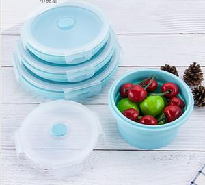 Бесплатная доставка Горячей продажи FDA Портативный Складной Lunch Box Круглый Силиконовый Lunch Box Микроволновая печь Пластиковый Холодильник Lunch Box