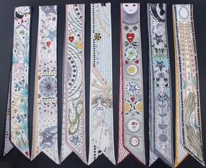 Serie tarot nuevo diseño flaco de la bufanda 12 Constelación Imprimir mujeres bufanda de seda pequeña asa de la bolsa Cintas Cabeza femenina ScarvesWraps
