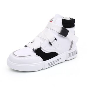 High Quality Mens Leather Sneakers Men Casual High Top Shoes Fashion Breathable Men Black White Street Dancing Footwear Zapatillas Hombre