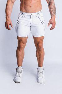 Desiger Jeans Branco Shorts Slim Fit meio comprimento rasgado Hiphop Shorts Mens Verão