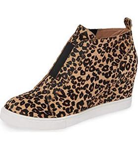 Mode pour femmes de loisirs Leopard Coins épais Bottom Flat Zipper Casual Chaussures Boot Chaussures de vélo respirant Femme / Hommes Baskets