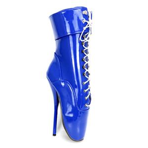 """أقصى ارتفاع 7 """"عالية سبايك كعب القدمين واشار براءات الاختراع والجلود الغريبة الوثن مثير أقفال قابل لل باليه أحذية الكاحل"""