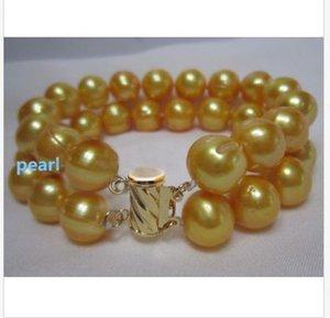 """NATURAL HUGE 11-12MM 남섬 GEOLDEN PEARL BRACELET 7.5-8 """"14K GOLD CLASP"""