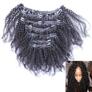 100% бразильский Реми волос 8 частей, и 100 г/Комплект естественный цвет 8 шт./Комплект афро кудрявый вьющиеся клип в расширениях человеческих волос натуральный черный