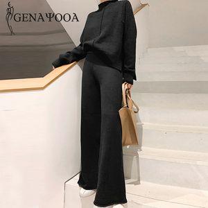 Genayooa Zweiteiler Pullover Pullover Anzug Frauen mit hohen Taille Knit-breite Bein-Hosen-Frauen Anzug 2-teiliges Set Winter-2019