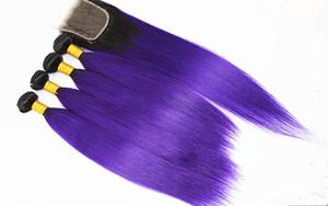 حزم الشعر مستقيم مع إغلاق أومبير اللون البرازيلي العذراء شعرة الإنسان مع 4x4 إغلاق الشعر اللون 1B / الأرجواني 10-18 بوصة