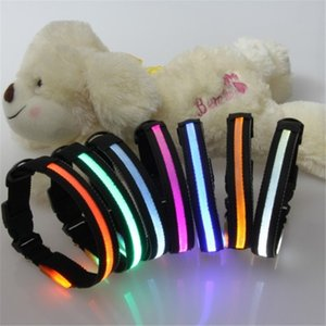 LED Glowing Pet Dog Collar 8 Colors Nylon Adjustable Dogs Collars Luminous Leashes Pets Supplies Free Shipping