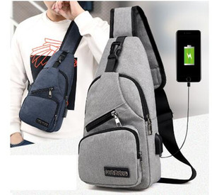 2019 novo macho ombro sacos de carregamento USB Bandoleira Sacos Homens Anti Theft Peito Bolsa Escola curto verão viagem Mensageiros Saco