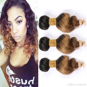 # 1B 4 27 Honey Blonde Ombre brasilianisches Menschenhaar Bundles lose Wellen-Jungfrau-Haar-Webart-Einschlagfaden-Drei-Ton Ombre Hair Extensions 3Pcs Lot