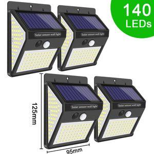 140 LED Lumière solaire 3 Modes étanche IP65 LED Lampe solaire PIR détecteur de mouvement LED Garden lumière extérieure Pathway Wall Light