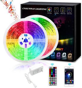5050 RGB LED Şerit Dize Işık + 44 Tuşlar Uzaktan Kumanda + Bluetooth Controller + 12V 5A Güç Kaynağı