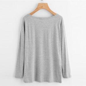 Patrón O-Cuello Dotfashion corazón Marled Camiseta gris con cuello redondo de manga larga Ropa superior de gran tamaño T tendencia ocasional de la camisa