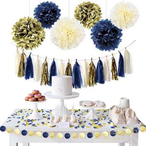 NiCrO 11pcs / Set Gold Dark Blue Paper Flower кисточкой Garland конфетти Diy партии Выпускной Пол Reveal Декоративные товары Set07