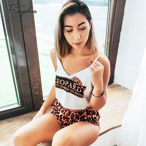 Suphis Leopard Print Sexy Sleepwear Silk Pijama V Neck Sleeveless Summer Tops Crop Casual Pajamas Shorts Loose Satin Pajama 2020 Y200708