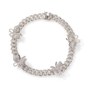 14inch의 12mm 다이아몬드 동물 초커 힙합 골드 실버 핑크 체인 목걸이를 블링 남성 명품 디자이너 나비 체인 목걸이를 아이스