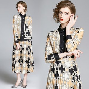 Street Style Womens Vintage Print Shirt + Pleated Half-length Skirt Suit Elegant Office Lady Sexy Slim Two Pieces Sets Party Evening Dresses