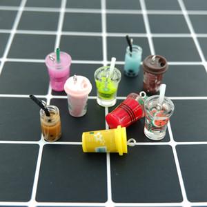 Coloridas Leite café Dink Encantos Pingentes para pulseiras decoração DIY colar brinco chave de fazer cadeia Jóias