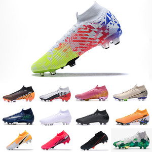Mercurial Superfly 7 VII Elit FG Cleats Mavi Kahraman Mercurial Superfly 7 360 FG Elit Turuncu Cleat CR7 Futbol ayakkabıları Ronaldo Siyah Cleat