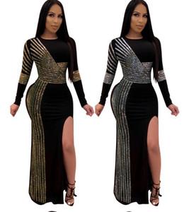 2020 Women Black Maxi Dresses Diamonds Bodycon Split Dress Crew Neck Long Sleeve Dresses shinging slim sexy Club Party Dresses