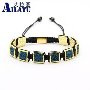 Ailatu Mens Bracelets Pythonleder Stingray Macrame Bracelet 10pcs / lot hochwertiges Y19051101