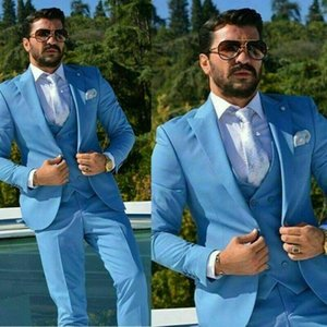 Excellent Blue Groom Tuxedos Peak Lapel Groomsman Wedding 3 Piece Suit Popular Men Business Prom Jacket Blazer(Jacket+Pants+Tie+Vest)6