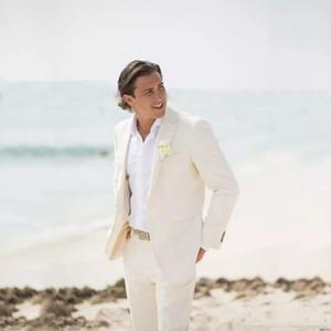 New Ivory Slim Fit Linen Wedding Suits Summer Beach Groom Tuxedos 2 Pieces (Jacket+Pant) Bridegroom Men Suits Blazer Prom Wear 245