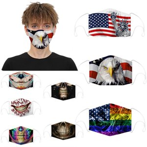 concepteur visage masque crâne drapeau numérique Sport Halloween Party cosplay masques de luxe réutilisables poussière chaud coupe-vent masque de coton de fête
